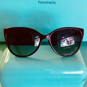 Tiffany & Co Burgundy Crystal Butterfly Sunglasses